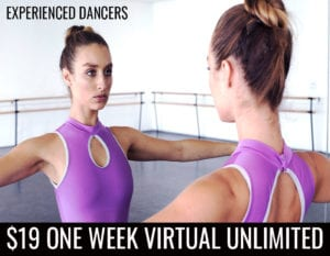 Banner ad for our $19 virtual ballet classes intro trial.